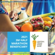 Graphic informing readers that the Central Texas Food Bank has been named the beneficiary of the 2021 3M Half Marathon presented by Under Armour.