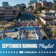 Drone image of hundreds of runners crossing the 2020 3M Half Marathon finish line. Design features text that reads September Running Playlist, 3M Half Marathon's newest monthly playlist for runners.