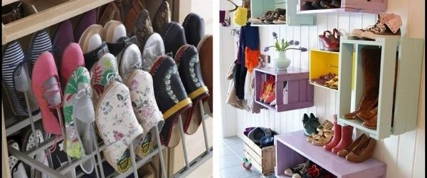 Two different DIY racks that provide examples of different ways to organize your running shoes. Click on the image's link to visit 3M Half Marathon's Pinterest page for more ideas.