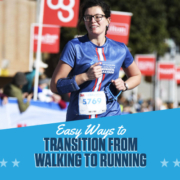 Female runner smiles as she crosses the 2020 3M Half Marathon finish line. Text on design reads Easy Ways to Transition from Walking to Running. Learn more at https://downhilltodowntown.com/transition-from-walking-to-running/
