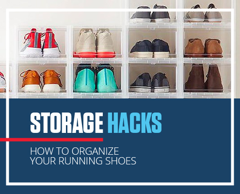 Stacked cubes that save space and organize shoes. Text in design reads Storage Hacks, How to Organize Your Running Shoes. Check out more ideas at https://downhilltodowntown.com/organize-your-running-shoes/