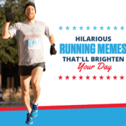 Runners pumps his fist in the air during the 3M Half Marathon. Text on design reads Hilarious Running Memes That'll Brighten Your Day. Read more at https://downhilltodowntown.com/running-memes/