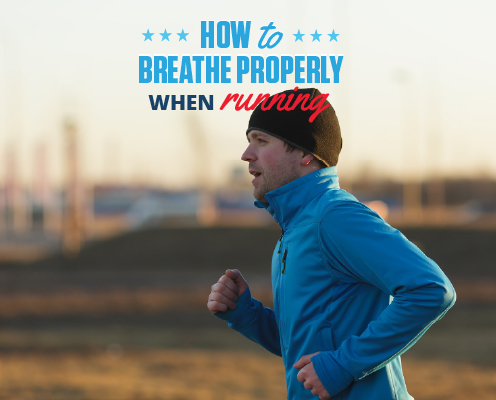 Runner runs in cold weather gear. Text on design reads How to Breathe Properly When Running. Learn more at https://downhilltodowntown.com/breathe-properly-when-running/