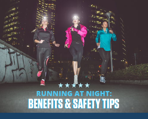 Three women are running at night in reflective clothing and wearing a headlamp. Text on design reads Running at Night: Benefits and Safety Tips. Read more at https://downhilltodowntown.com/running-at-night/