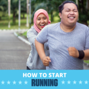 Male and female runners laugh during the middle of their run. Text on design reads How to Start Running. Learn more at https://downhilltodowntown.com/start-running-today/