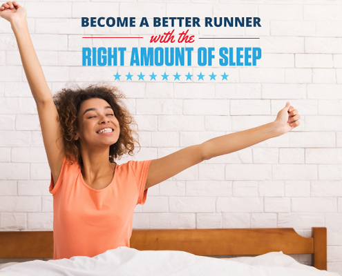 Women stretches her arms in bed after a full night of sleep. Text on design reads Become a Better Runner with the Right Amount of Sleep. Learn more at https://downhilltodowntown.com/right-amount-of-sleep/
