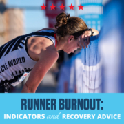 Female runner leans on the fence at the 3M Half Marathon finish line. Text on design reads Runner Burnout: Indicators and Recovery Advice. Learn more at https://downhilltodowntown.com/runner-burnout-indicators-recovery-advice/