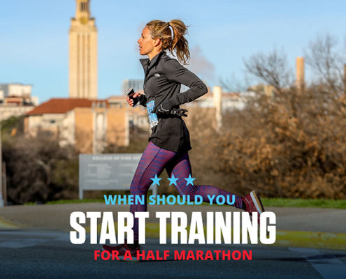 Runner runs during the 3M Half Marathon with the UT Tower in the background. Text on design reads When Should You Start Training for a Half Marathon. Learn more at https://downhilltodowntown.com/when-you-should-start-training/