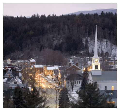 A contempory photo of an historic Vermont downtown taken from the air.