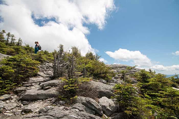 A person hiking along a rocky peak above treeline.