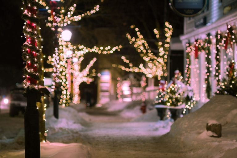 Trees lit up for the holidays in historic downtown Stowe.