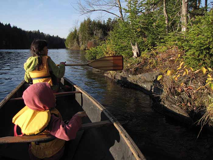 Two people wearing life jackets paddle a canoe near shore.