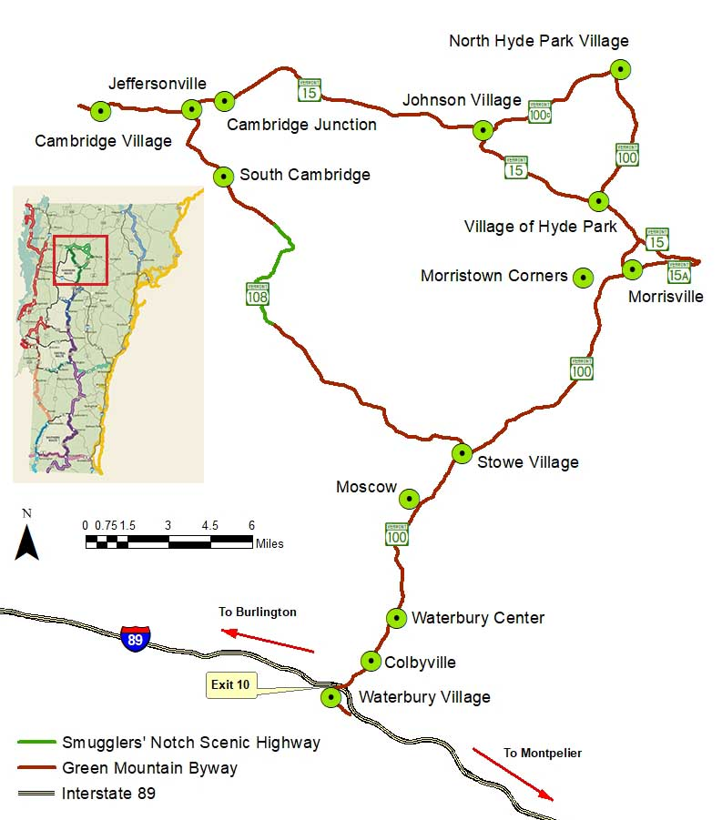 A hand-drawn map of towns and state roads along the Green Mountain Byway loop.