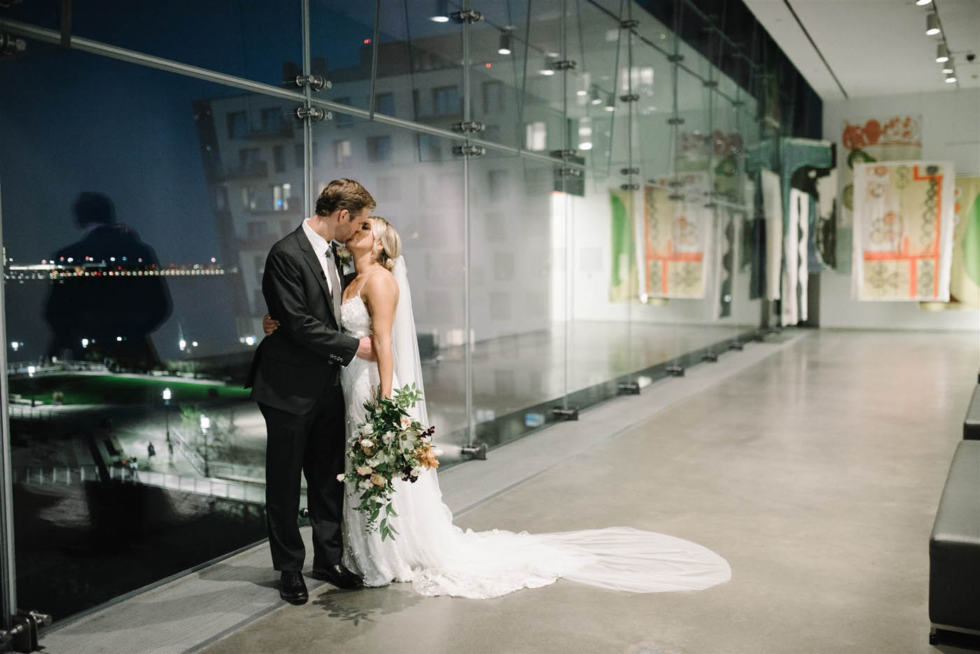 groom and bride at ICA Boston