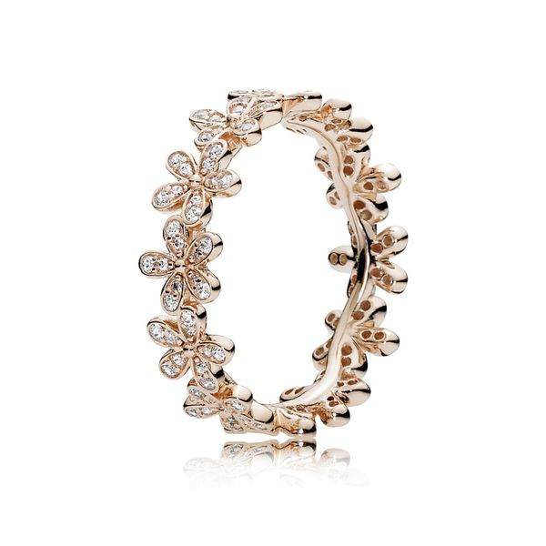 Daisy Flower Ring for Women in Pandora Rose with Clear Cubic Zirconia