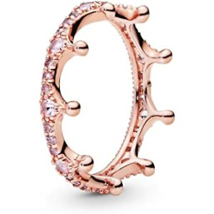 Pink Sparkling Crown Ring for Women in Pandora Rose with Pink Crystal