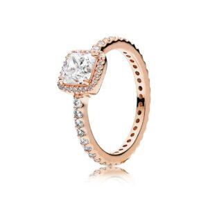 Square Sparkle Halo Ring for Women in Pandora Rose with Clear Cubic Zirconia