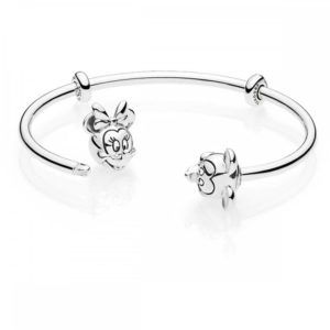 Disney Pandora Moments Mickey Mouse and Minnie Mouse Open Bangle