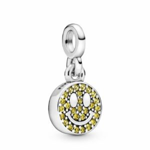 Pandora Jewelry Smiley Dangle Limelight Yellow Crystal Charm in Sterling Silver