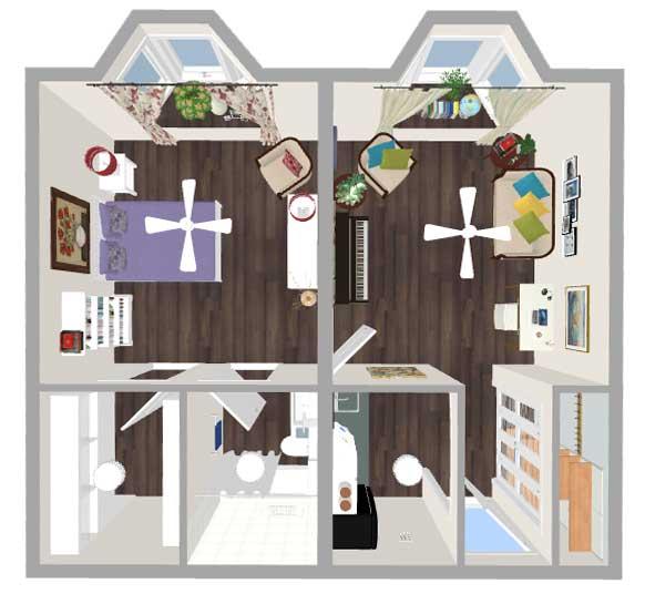 King Place One Bedroom Floor Plan