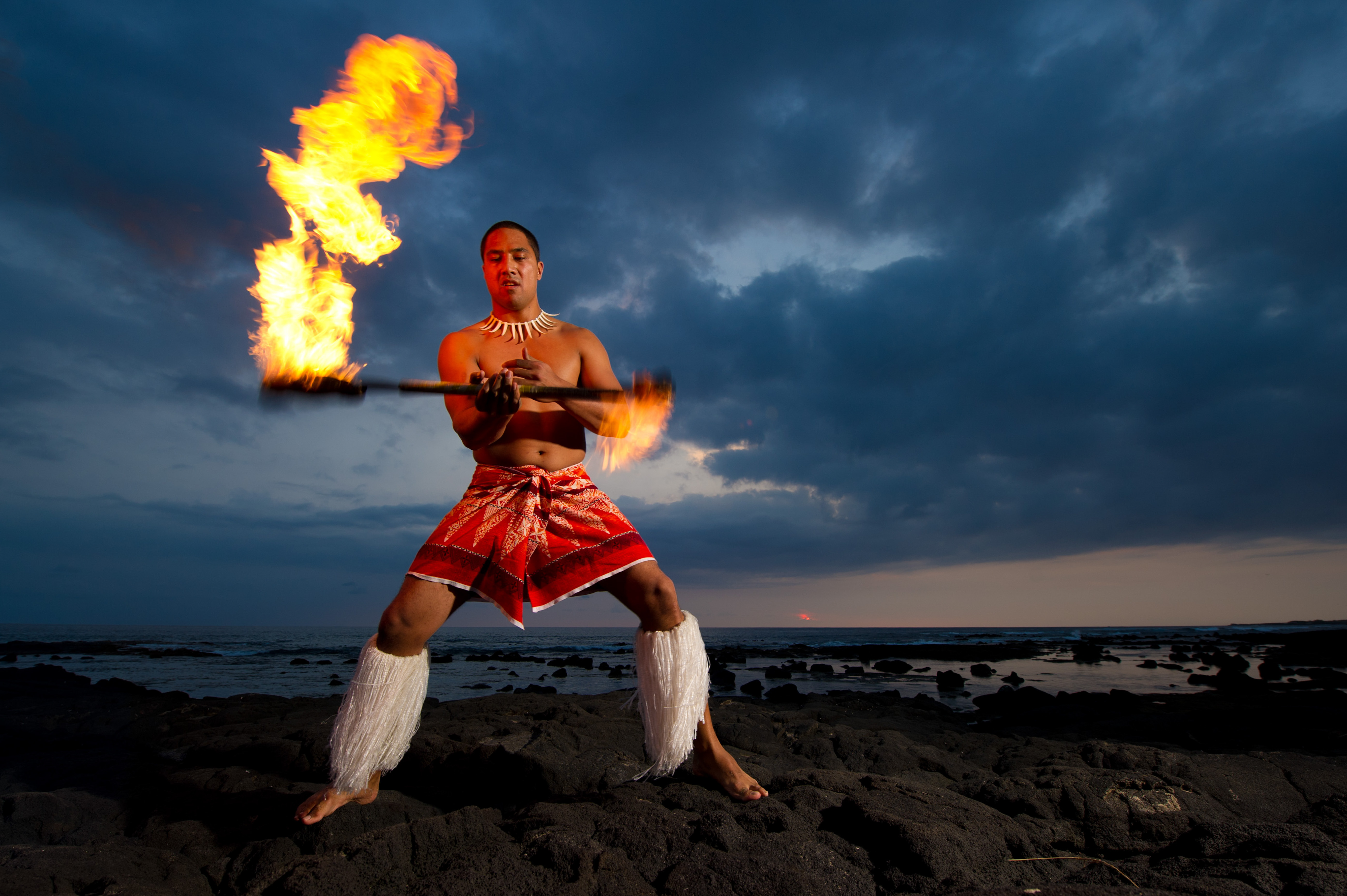 Photographing the Island Breeze Luau cast on the beach of Hawaii