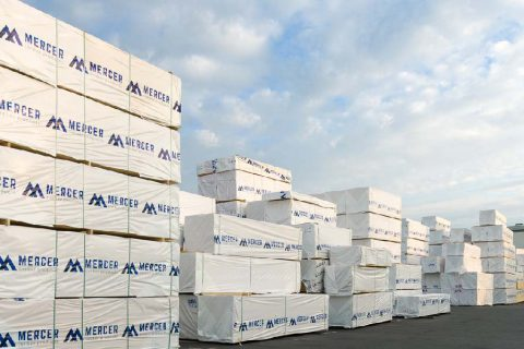 Lumber pallets in the Mercer Timber Products yard in Friesau, Germany