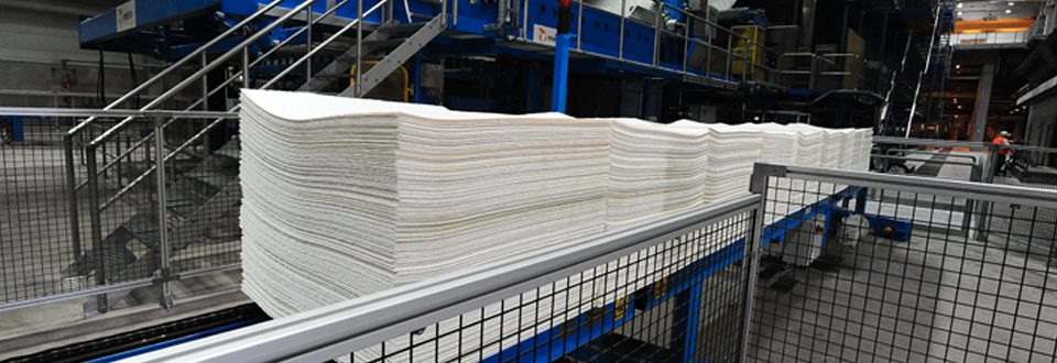 Pulp sheets ready to be packaged into bales at Mercer Stendal, Arneburg, Germany