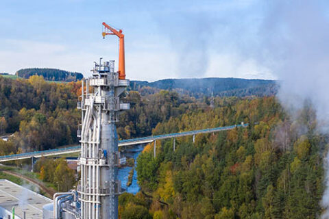 Aerial view of the Mercer Rosenthal pulp mill in Rosenthal am Rennsteig, Germany