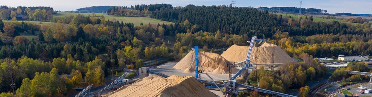 Chip conveyors carrying softwood chips onto chip piles at the Mercer Rosenthal pulp mill, Rosenthal am Rennsteig, Germany