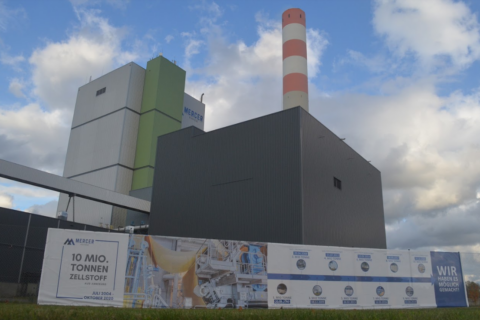Mercer Stendal pulp mill main building, Arneburg, Germany, with signage celebrating 10 million tonnes of production on 2020