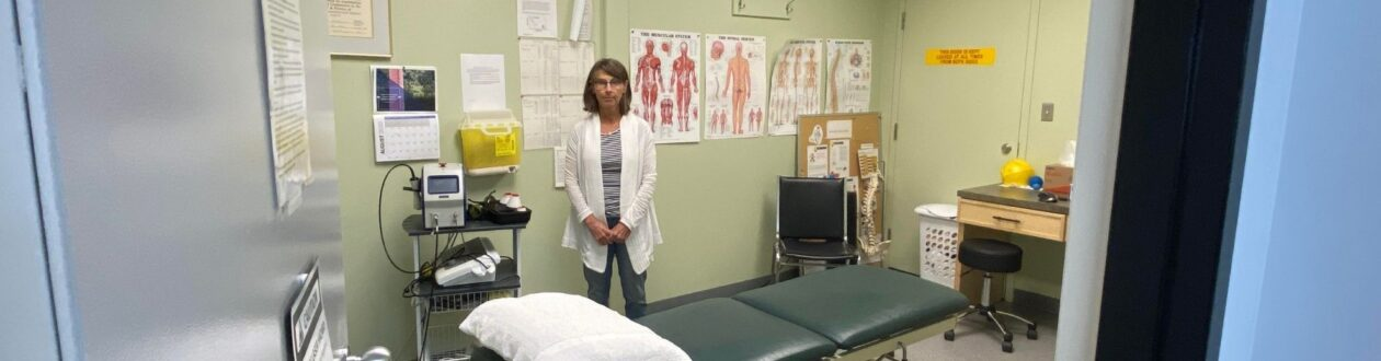Jan Summersides, Mercer Celgar's on-site Physiotherapist, working with mill employees in Castlegar, BC, Canada
