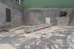 Mercer Timber Products site in Friesau with a new concrete barrier to protect an exit doorway from reversing equipment