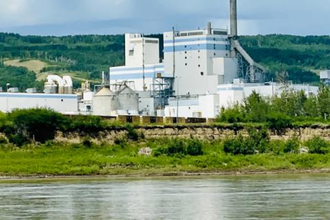 Mercer Peace River Pulp Ltd. seen over the Peace River in Alberta, Canada