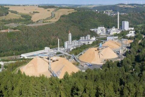 Chip yard at the Mercer Rosenthal pulp mill, Rosenthal am Rennsteig, Germany