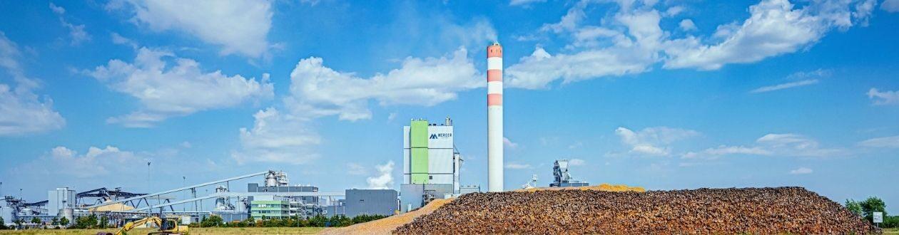 Mercer Stendal pulp mill behind log yard in Arneburg, Germany
