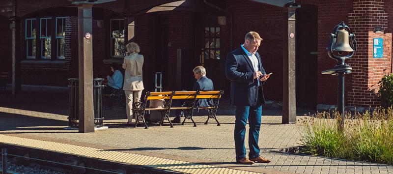 Sean Dailey at train stop
