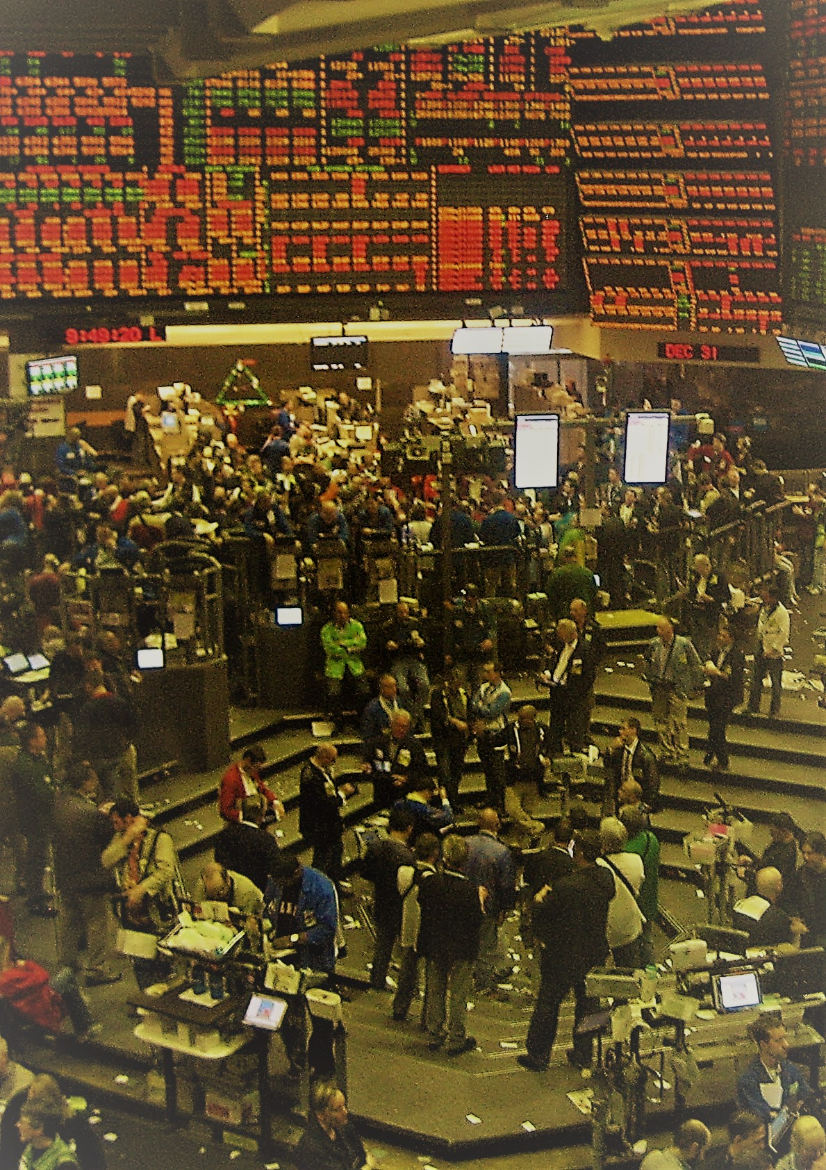 Old trading floor stylized vertical