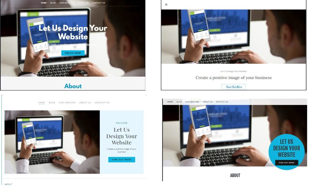 Sample Home Page Above the Fold Choices for website
