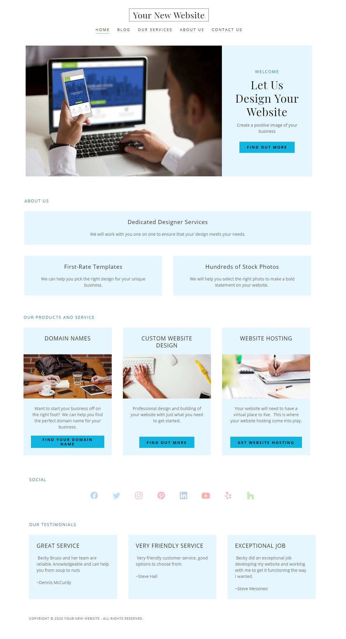 Sample Website Home Page Design