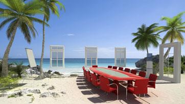 Table around the beach