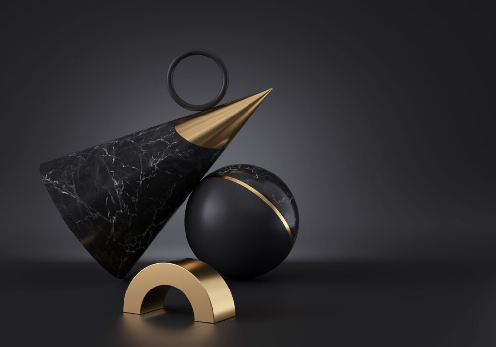 3d render, abstract minimalist geometric objects isolated on black background. Marble texture, golden metal. Copy space. Cone, ball, ring. Stack of primitive shapes, premium futuristic decor elements
