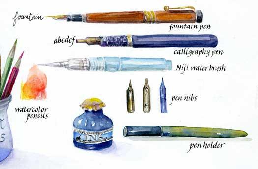 Writing Tools To Go Illustration by Janet Takahashi