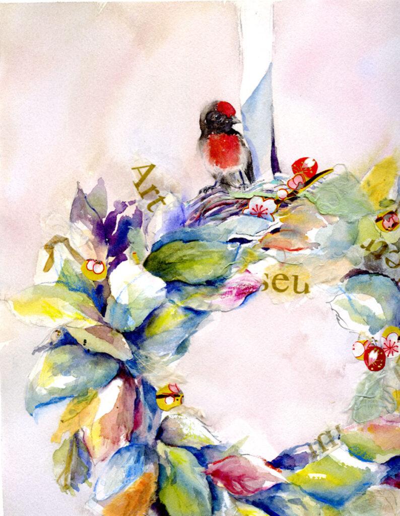 Mixed Media Wreath by Janet Takahashi