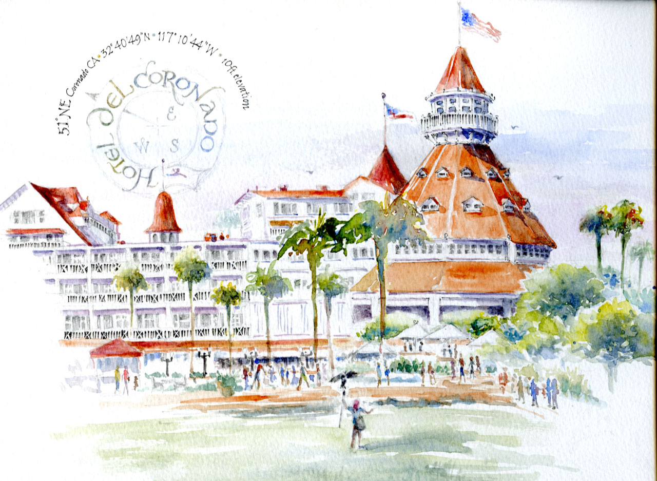 Watercolor sketch of Hotel Del Coronado by Janet Takahashi