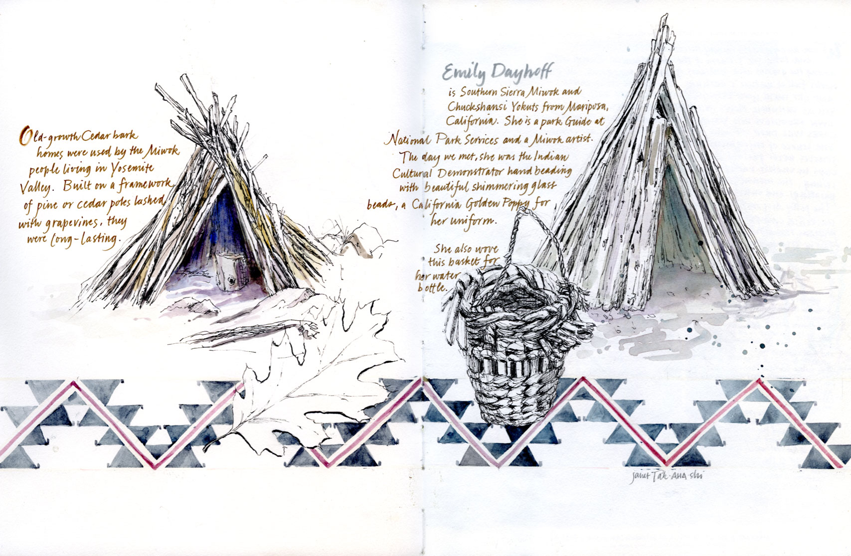 Miwok Village sketch by Janet Takahashi