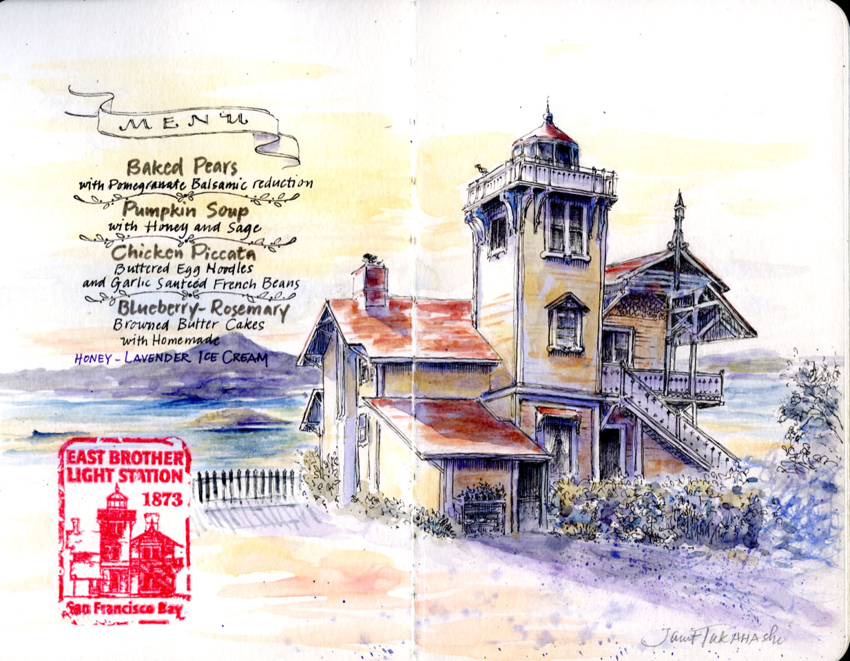 East Brother Lighthouse, San Francisco Bay sketch by Janet Takahashi