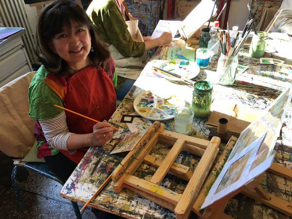 Janet Takahashi painting in Arles, France