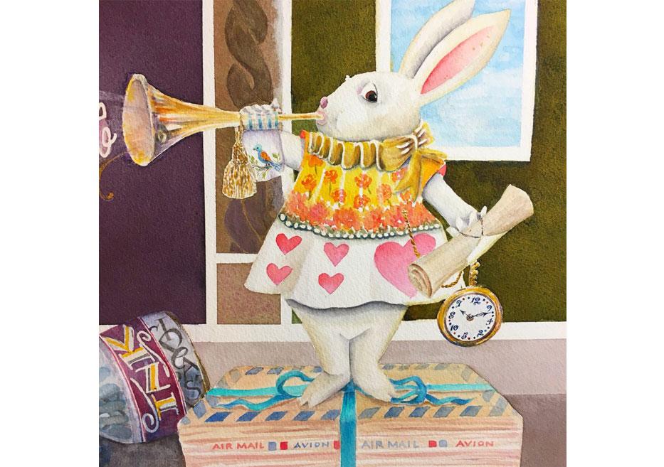 Watercolor Rabbit by Janet Takahashi