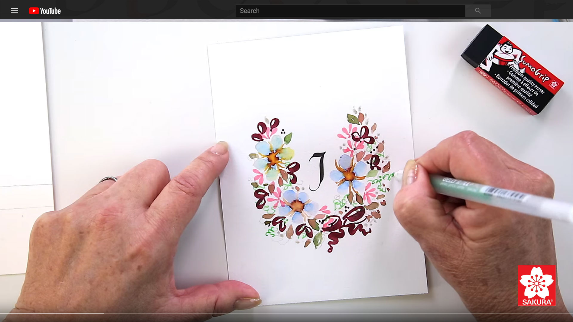 Watercolor Floral Wreath Monogram Tutorial with Janet Takahashi