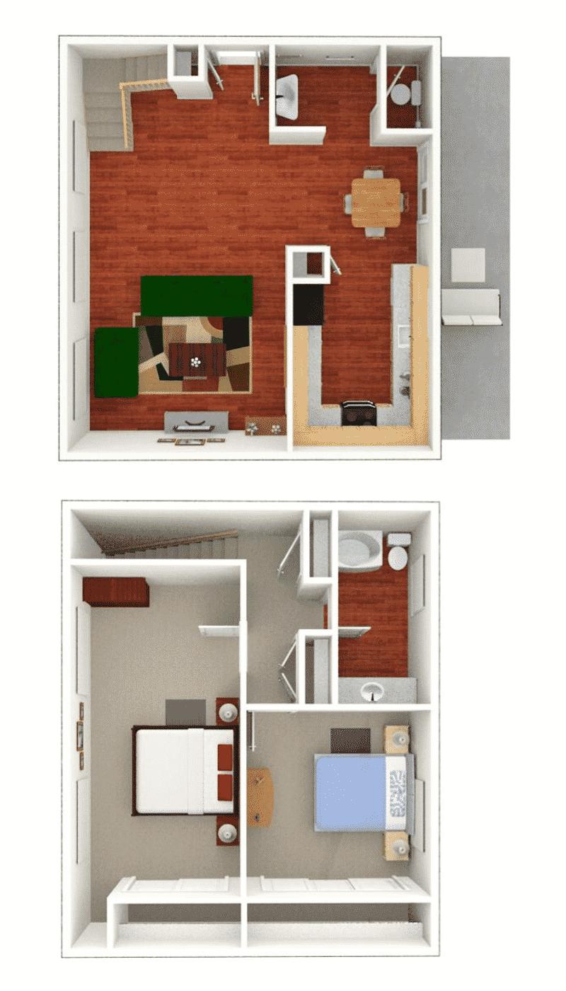 2 bed 1.5 bath townhome floor plan